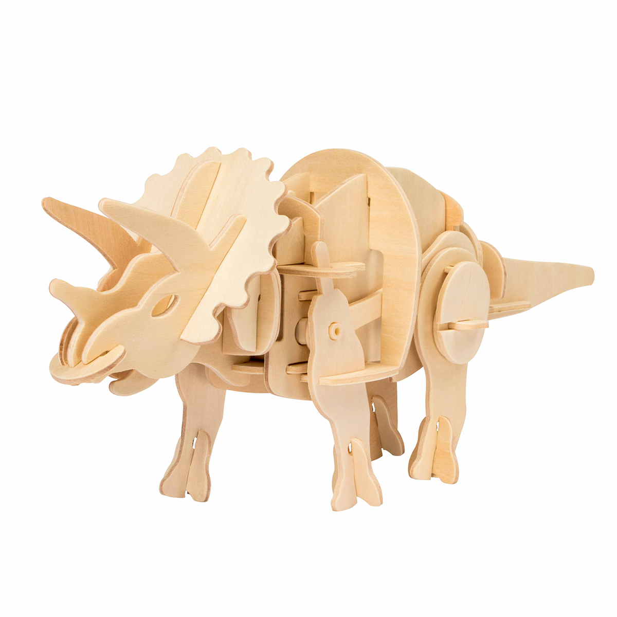 Educational Battery Powered Action Dino-Triceratops-3D Wooden Puzzle