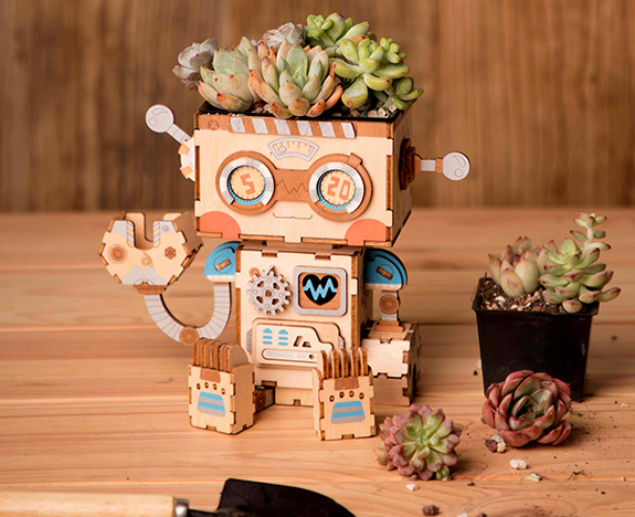 Rolife Flower Pot wooden puzzles home decors