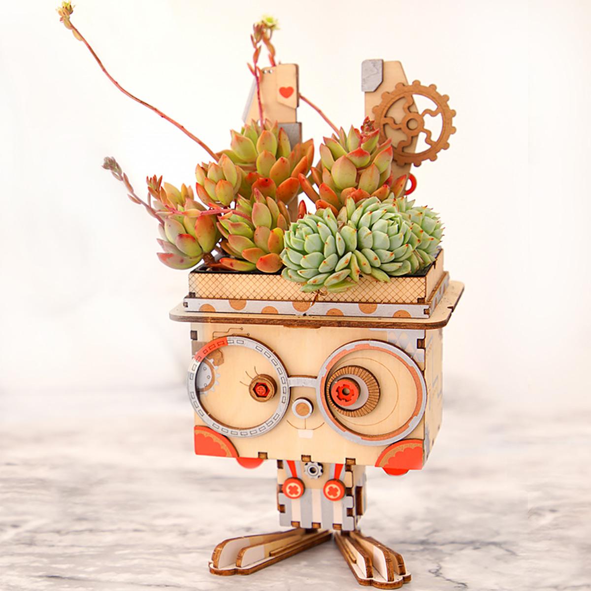Rolife Flower Pot DIY Wooden Succulent Box Planter Kids 3D Puzzle Garden Decor
