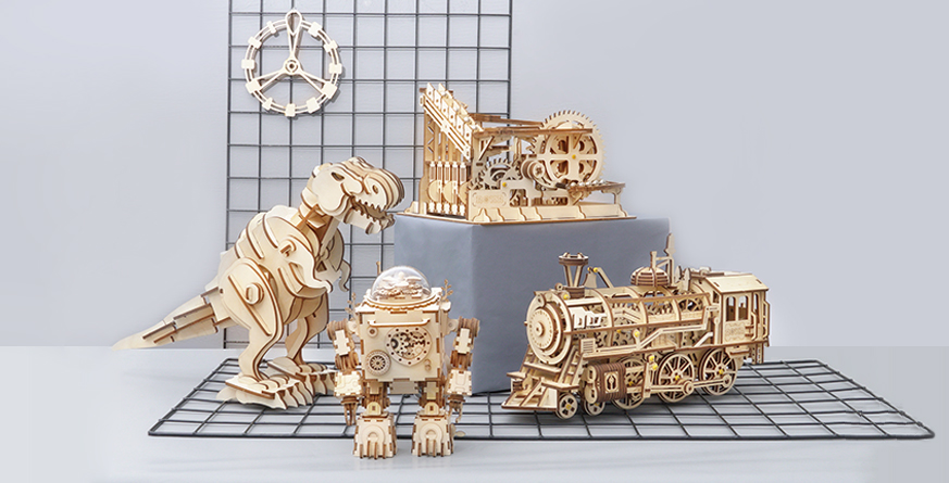 ROKR 3D wooden puzzles building kits for kids and adults