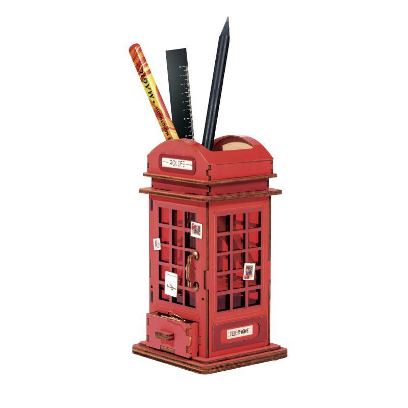 Telephone Booth pen holder DIY desk organizer