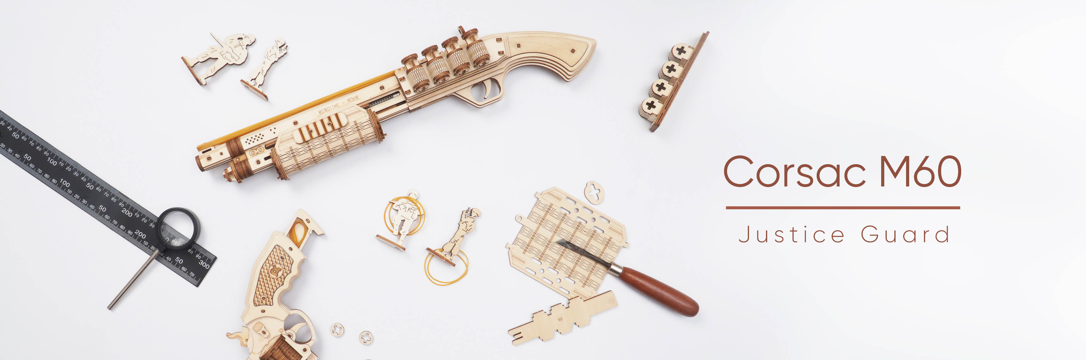 new arrival of ROKR toy gun models--Justice Guard series with safe rubber band bullets
