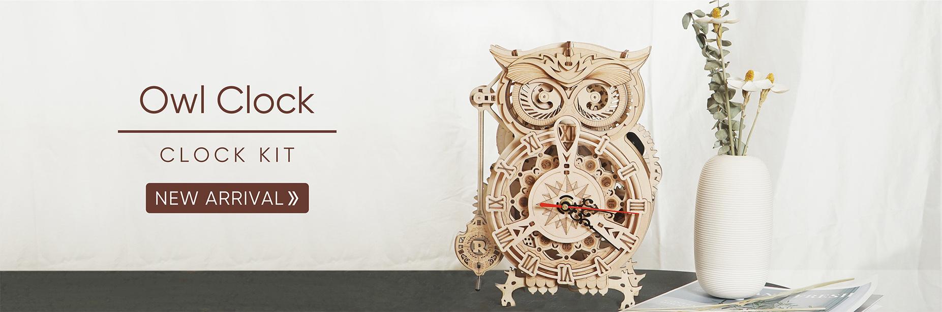 robotime NEW ARRIVAL owl clock lk503 banner